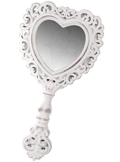 Spegel vit romantisk handspegel Hjärta shabby chic lantlig stil