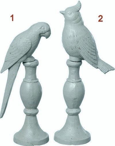 Fågel papegoja på pinne grå gjutjärn shabby chic lantlig stil