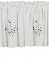 Kappa gardinkappa vit broderade blå blommor spets shabby chic lantlig stil