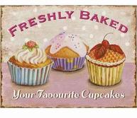 Plåtskylt skylt Freshly Baked Your Favourite Cupcakes