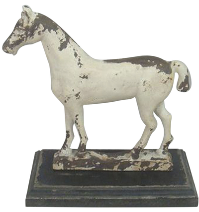 Häst vintage vit i trä shabby chic lantlig stil