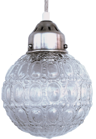 Rund bollampa pressglas silverfäste tygsladd shabby chic lantlig stil
