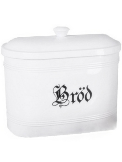 Stor vit brödlåda brödburk emalj shabby chic lantlig stil