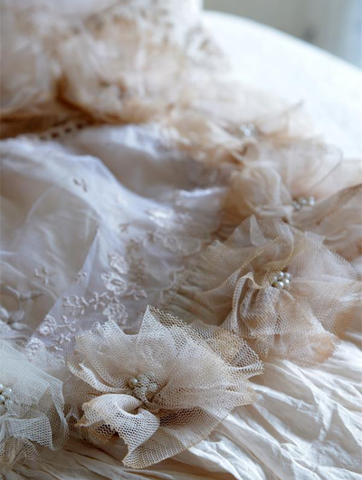 Bröllopskrans stor Vintage tyll pärlor shabby chic lantlig stil