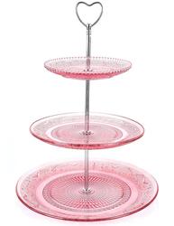 Tre våningar kakfat rosa glas och silver shabby chic lantlig stil