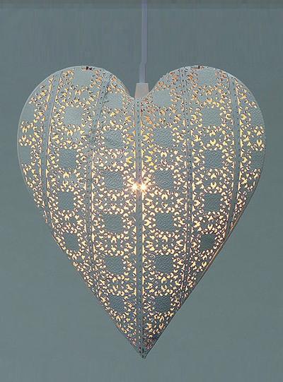 Hjärtlampa lampa hjärta vit shabby chic lantlig stil