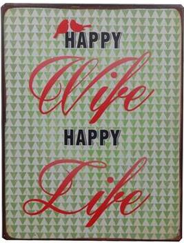 Plåtskylt skylt Happy Wife happy Life shabby chic lantlig stil