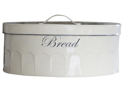 Brödlåda brödburk Antiquecreme emalj oval shabby chic lantlig stil