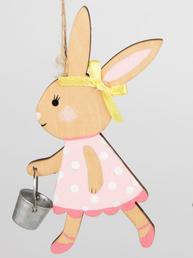 Kanin påskhare kaninflicka med hink trä shabby chic lantlig stil