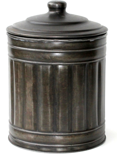 Plåtburk antik-brun med lock och glasinsats Jeanne d´Arc Living shabby chic lantlig stil