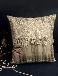 Kuddfodral / kudde Vintage Pearls Grey Van Asch