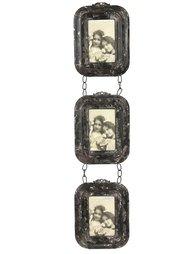 Fotoramar 3 antik-brun plåt kedjor sidenband shabby chic lantlig stil