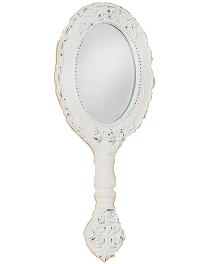 Spegel vit romantisk handspegel shabby chic lantlig stil