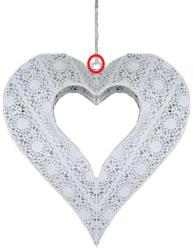 DEFEKT Hjärtlampa lampa hjärta i vitt smide shabby chic lantlig stil