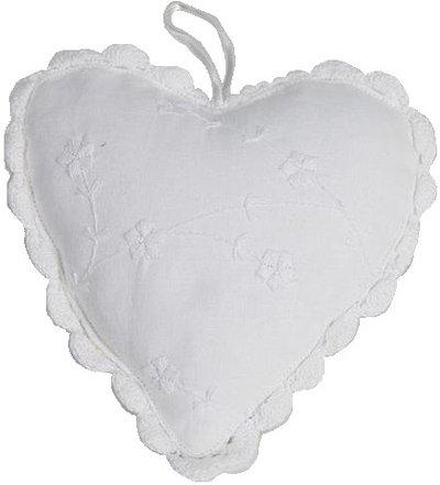 Hjärta vit romantisk 2 storlekar med broderi och virkad spets shabby chic lantlig stil