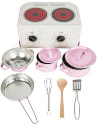 Rosa väska defekt spis barnspis kastruller köksredskap i rosa plåt shabby chic lantlig stil