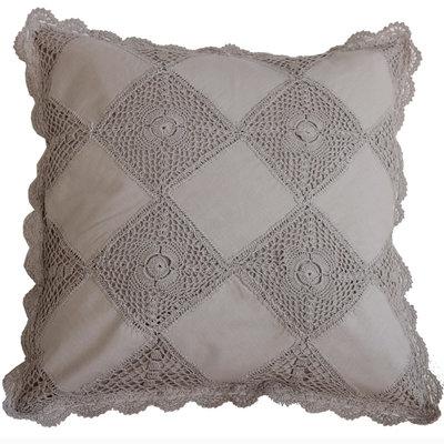Kuddfodral virkat linne-beige romantiskt shabby chic lantlig stil