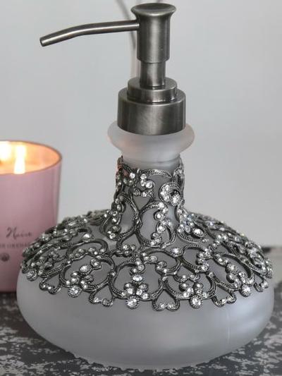 Tvålpump Antik Silver Kristall shabby chic lantlig stil