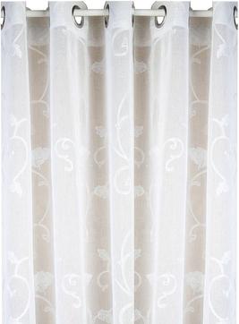 Vita broderade gardiner öljettlängder shabby chic lantlig stil