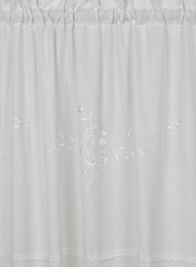 Gardinlängder vit broderade vita blommor spets shabby chic lantlig stil