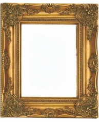 Spegel antik guld trä facettslipat glas shabby chic lantlig stil