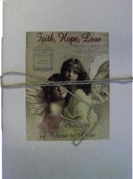 Stor anteckningsbok Änglar Faith Hope Love handgjord shabby chic lantlig stil