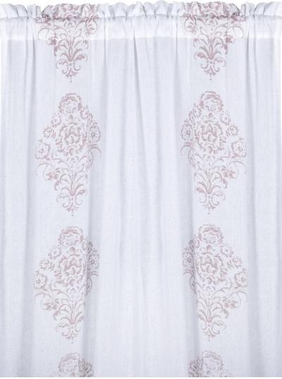 2 st Gardinlängder vit bomullstyll ljusrosa blocktryck shabby chic lantlig stil