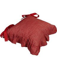 Stolkjol stolsfodral stolsdyna med kjol röd mönstrad shabby chic lantlig stil