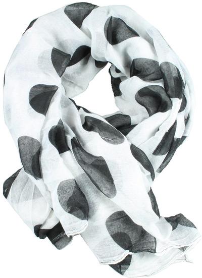 Scarves sjal vit svarta stora prickar shabby chic lantlig stil