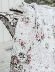 Överkast quilt pläd rosa rosor linne-beige vit shabby chic lantlig stil