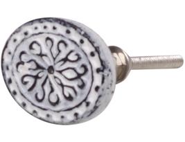 Vit oval knopp i metall shabby chic lantlig stil