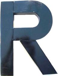 R bokstav blank svart plåt