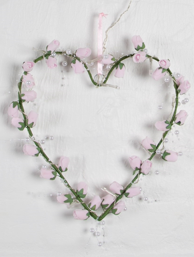 Roshjärta Ljusslinga rosa rosor med batteri shabby chic lantlig stil