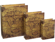 Bokbox boklåda bokgömma Atlas karta shabby chic lantlig stil