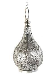 Droppe silver färgad lykta med genombrutet spetsmönster plåt shabby chic lantlig stil.