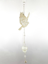 Hänglykta ljuslykta fågel glas shabby chic lantlig stil