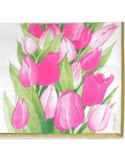 Servett rosa tulpaner lantstil shabby chic lantlig stil