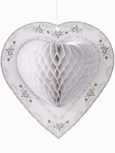 3 st vita honeycomb hjärta dekoration bröllop