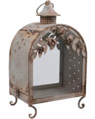 Lykta lanterna rostig antik-metall rosor shabby chic lantlig sti-