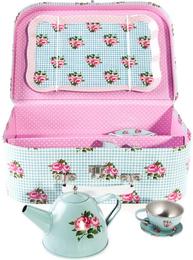 Picknick väska barnservis i turkos rosa blommig plåt shabby chic lantlig stil