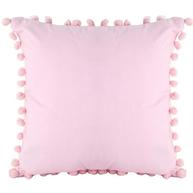 ljusrosa rosa kuddfodral pom pom bollar shabby chic lantlig stil