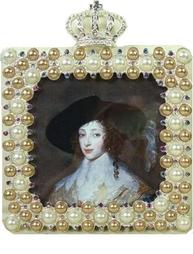 Metallram krona pärlor shabby chic lantlig stil