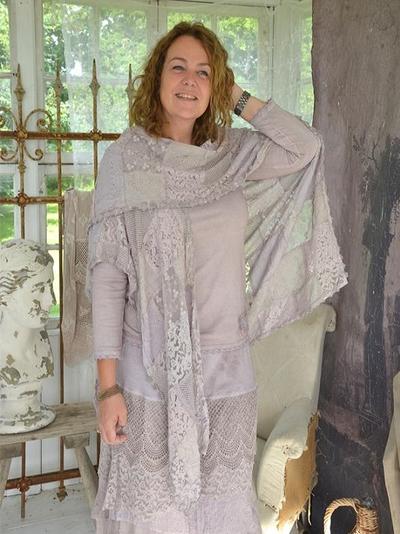 Stor romantisk sjal i spets Ljus Plommon shabby chic lantlig stil