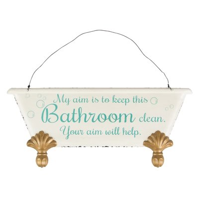 Skylt plåtskylt Keep This Bathroom Clean shabby chic lantlig stil