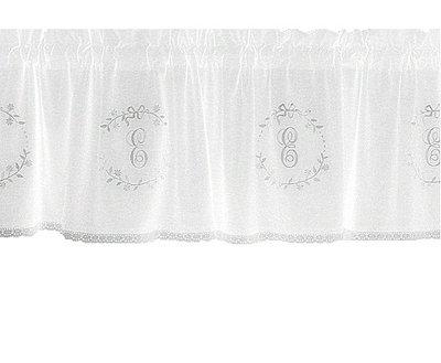Gardin kappa vit med vitt broderi monogram