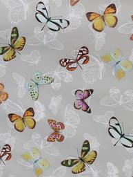 Vaxduk fjärilar ljusgrå botten shabby chic lantlig stil