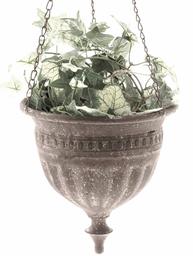 Ampel antik grå brun plåt blomampel hängande blomkruka shabby chic lantlig stil