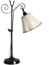 Bordslampa antik stil snirklig mörkt smide med eller utan veckad skärm