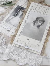 Franska damer stora tags bilder handgjort papp spets shabby chic lantlig stil Jeanne darc living