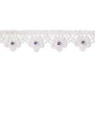 Spetsband spets vit kantspets uddspets med kristall shabby chic lantlig stil fransk lantstil